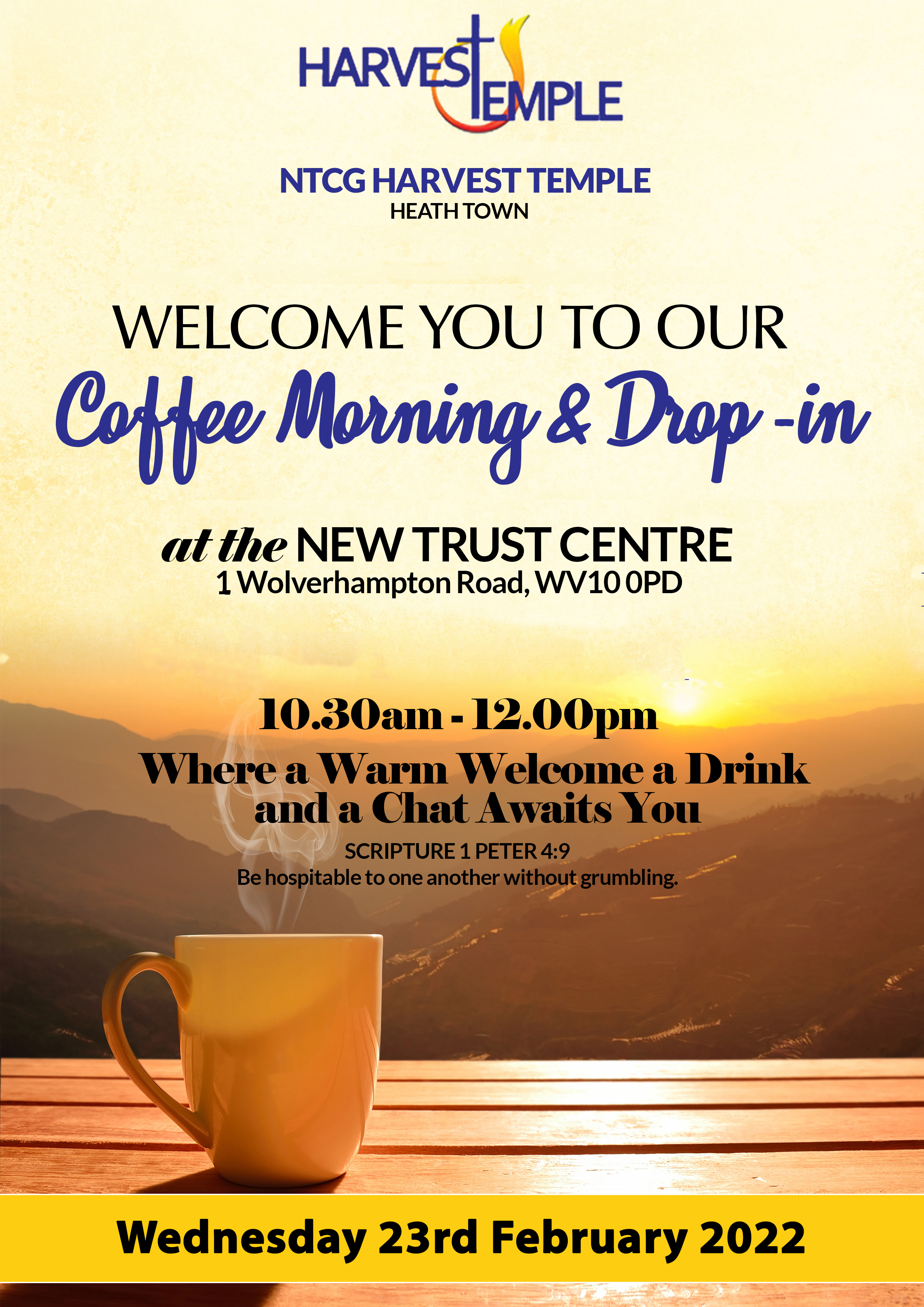 harvest temple coffee morning flyer